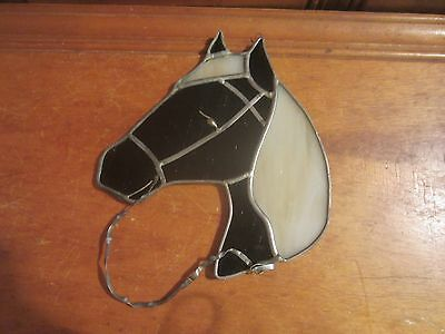 Stained Glass Brown Horse Head Suncatcher Handmade Window Hanging Leaded Rein 7""