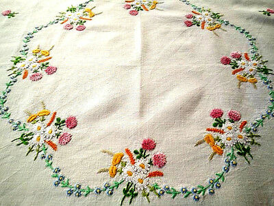 """Vintage Hand Embroidered Tablecloth~OctagonDaisy/Clover/Buttercups Circle 33x34"""""""