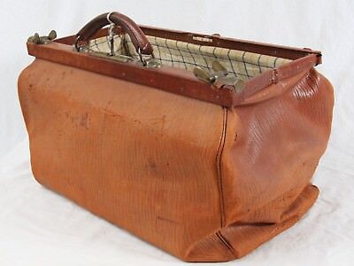 Antique French Leather Doctor Bag Original Lock & Key Worn Distressed Luggage