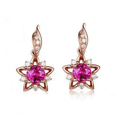 Fashion Women Rose Gold Cubic Zircon Star Dangle Tassel Earrings Jewelry Wedding
