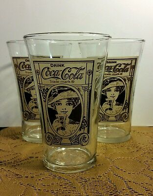 Vintage Reproduction Coca Cola Glasses-Set of (3) Three 16 Oz Flair Glasses-Used