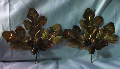 Vintage Home Interiors Homco Metal Copper Oak Leaves With Wood Acorns New