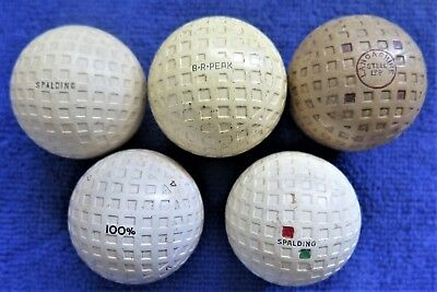Five - Antique  Mesh Golf Balls