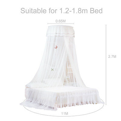 Mosquito Net Round Lace Curtain Bed Canopy Single Entry Netting for 1.2-1.8m Bed