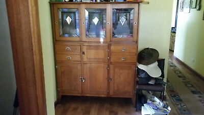 Vintage Kitchen Cabinet With Lead light Doors