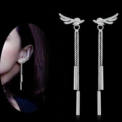 Day Bride Jewelry White Gold Plated Luxury Wedding Angel Wing Earring