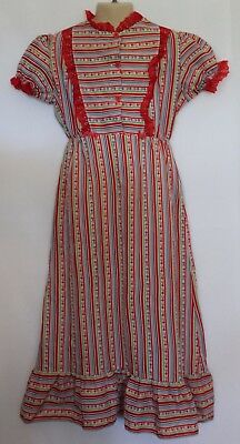 VINTAGE 1970s Target ~ Girls Red White Green Blue Maxi Lace Trim Maxi Dress 6
