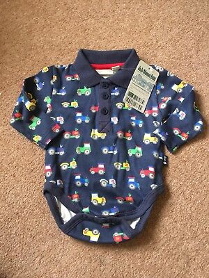 JoJo Maman Bebe Tractor Polo Shirt Body Navy 0-3 Months Brand New With Tags
