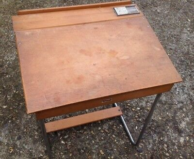 Vintage Triangle Child's Wooden School Desk With Inkwell