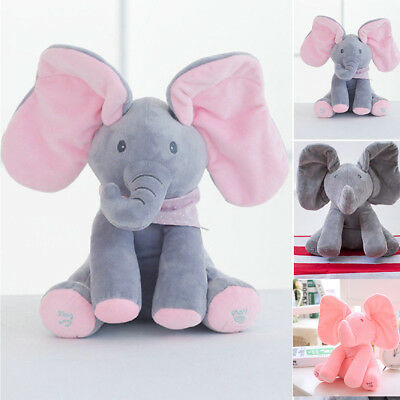 Animated Singing Elephant Stuffed Baby Plush Toy Peek-a-Boo Play Music Xams Gift