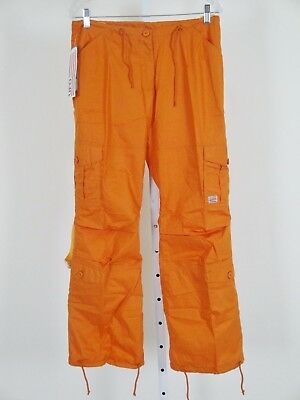 "UFO NWT Dance Pants S Bright Orange 32"" Waist Pants Girly Fit Reflect Tapes $59"