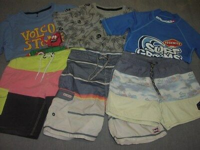 Boys Size 8 Lot Billabong + Ripcurl Boardshorts Billabong + Volcom T-Shirts Quik