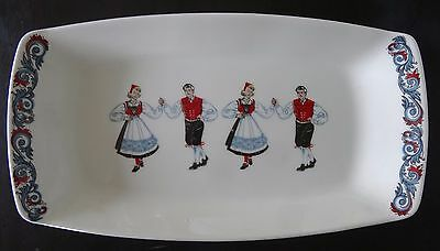 VINTAGE FIGGJO NORWAY FLINT scandinavian TRAY DANCING COUPLE pottery