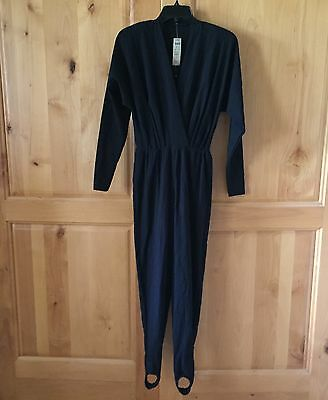 NWT Cache Vintage Size S Long Sleeve JUMPSUIT Stirrups Black semi sheer top