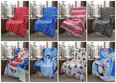 XMAS Christmas Polar Fleece Blanket Check Chair Bed Throw 9 Designs 127x152cm