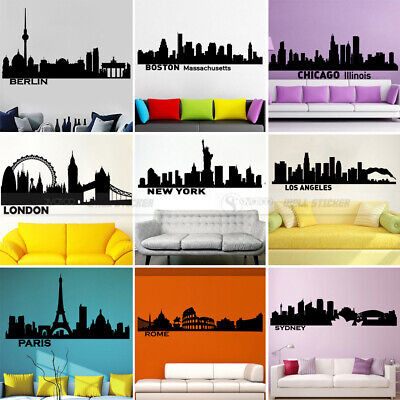 Large City Silhouette Building Vinyl Wall Sticker Decal Living Room Bedroom Home