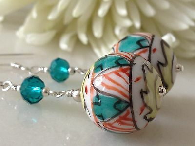 Vintage 'Aztec' Hand Painted Ceramic Beads & Teal Crystals 925 Earrings