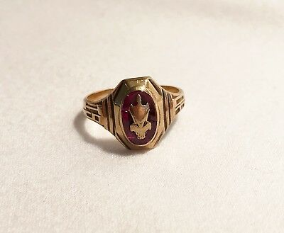 Antique 1940  Josten Dura-Tone Red Stone 10K Gold  Class Ring SZ 6.5    3.7Grams