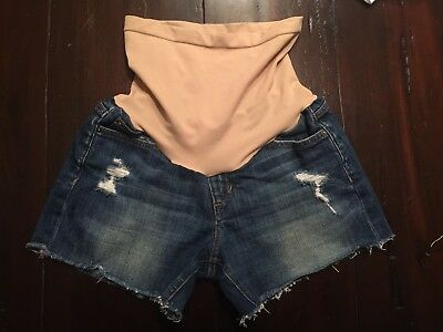 Joes Jeans Ozzie Womens Distressed Cut Off Denim Maternity Shorts Size 27