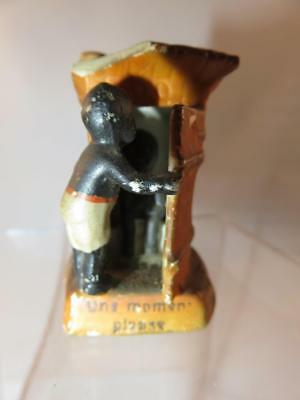 Black Americana Outhouse With Little Boy Inside Figurine One Moment Please
