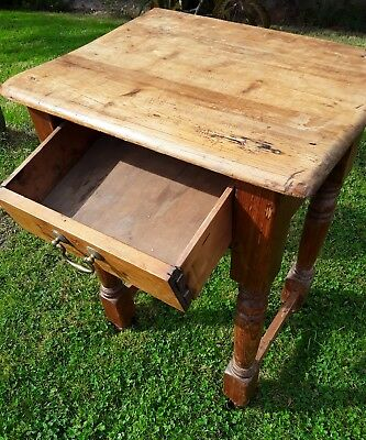 heavy , chunky, antique pine side , lamp,bedside table with drawer under