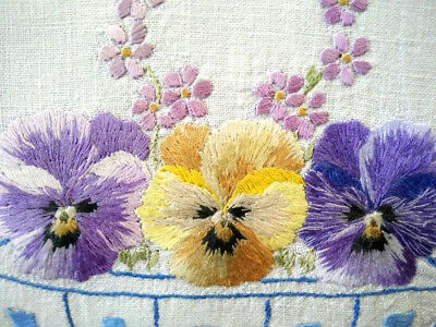 Exquisite Vintage Centrepiece - Heavily Hand embroidered Pansy/Pansies Bowl