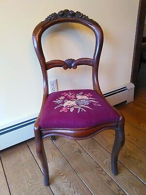 Antique Vintage Mahogany Balloon Back carved chair with needlepoint cushion