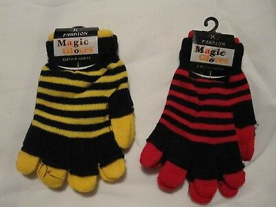 Bnwt - 'k' Fashion Magic Gloves -  Canary & Red Striped - Free Post To Uk Only