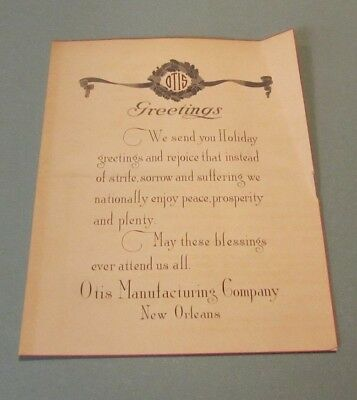 WWI Era Otis Manufacturing Company Advertising Christmas Card New Orleans LA