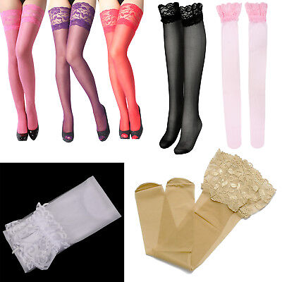 5X(SR Black Pair of Stylish Sexy Solid Color Lace Design Stockings