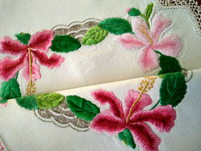 Outstanding Vintage Centrepiece - Heavily Hand Embroidered Hibiscus Flowers