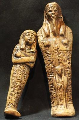 EGYPTIAN USHABTI PAIR stone statues ancient replicas