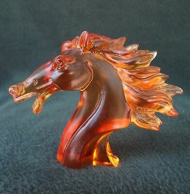 HORSE HEAD PAPERWEIGHT Gold/ Amber Crystal Glass by Liuil Crystal Art