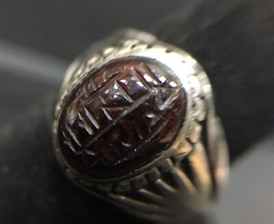 Islamic Eastern hand made Heavy  Engraved Intaglio Stone Seal Stone Ring ##