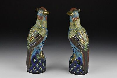 Pair of Chinese Cloisonne Figural Phoenix Birds Statues / Figures
