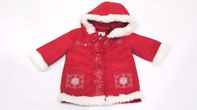Christmas Winter BABY GAP Girl 3 6 Months Red Coat Jacket faux fur suede-EUC