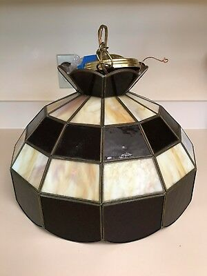 Vintage Tiffany Style Stained Marble Glass Hanging Ceiling Swag Lamp Brown Tones