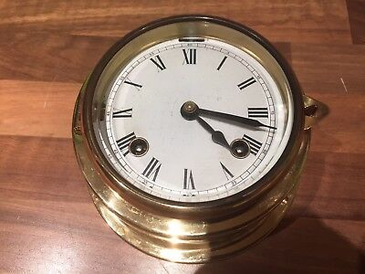 Vintage Brass Ships 8 Bells Chiming Clock Maritime Marine Nautical Boat