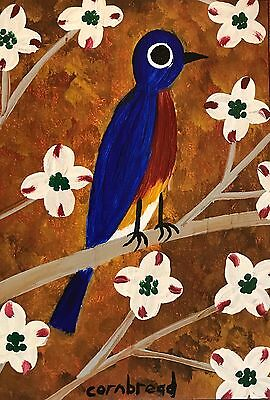 "Cornbread Anderson ""Bluebird in a Dogwood"" Original Folk Outsider Art Painting"