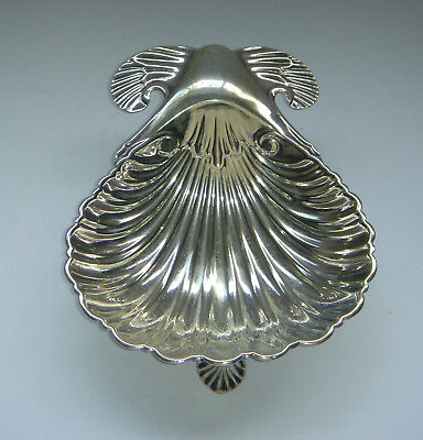 Antique Victorian WALKER & HALL Ornate Shell Shape 3 Footed Dish Tray