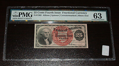 4th Issue 25 Cent Fractional - FR1302-  PMG 63!  Closed Pin Hole, Annotation