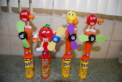 M&M Candy Fans 3 Red & 1 Yellow Halloween