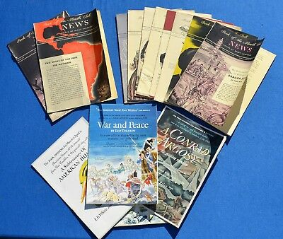 Vintage 1940's Book of the Month Selection Brochures/ Bulletins Lot of 10  #1685