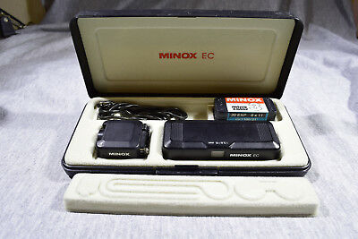 Minox Ec Camera In Display Case With Manual, Flash, Chain And Film