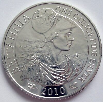 2010 GREAT BRITAIN  1oz SILVER BULLION  BRITANNIA  £2 TWO POUNDS COIN  BUNC