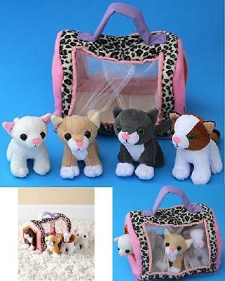 Cat Carrier Toy w/ Meowing Kittens Christmas Gift for Kids Toddler Pet Cat Set