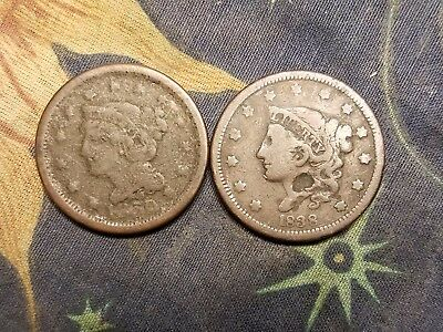 2 Rare Old Coins 1850 & 1838 Large Cent
