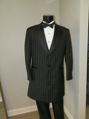 3/4 Length Striped Zoot Suit Coat and Pant Tuxedo Costume Theater