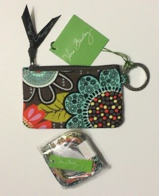 new brand VERA BRADLEY ZIP ID CASE & LANYARD SET flower shower    GIFT