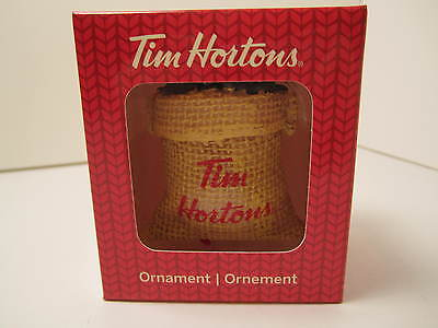 New In Box Tim Hortons 2016  Christmas Decoration Coffee In Burlap Bag